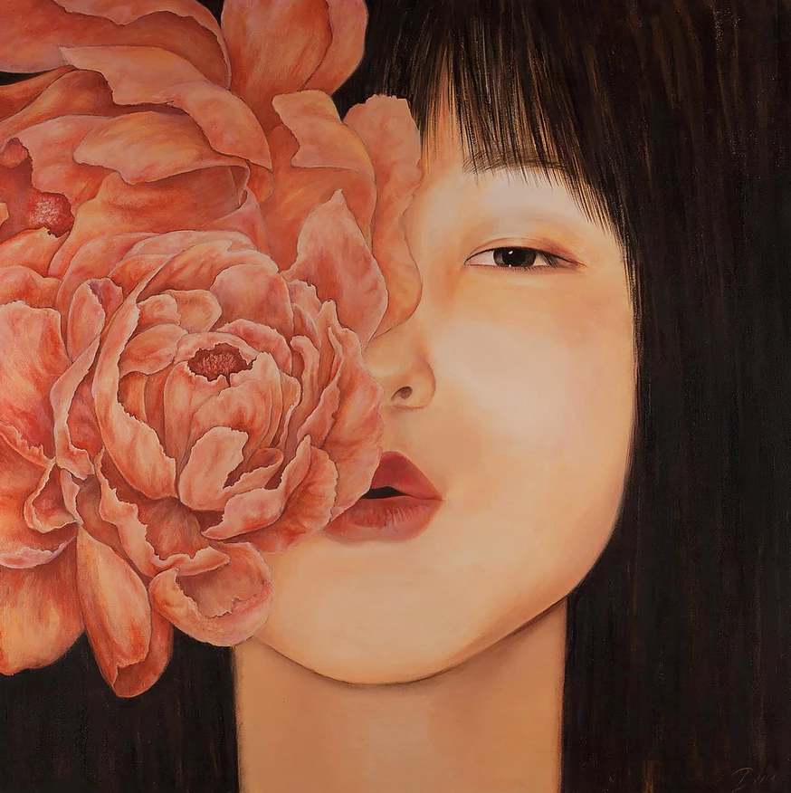 oil painting of a girl with flower by artist Nika Dolia