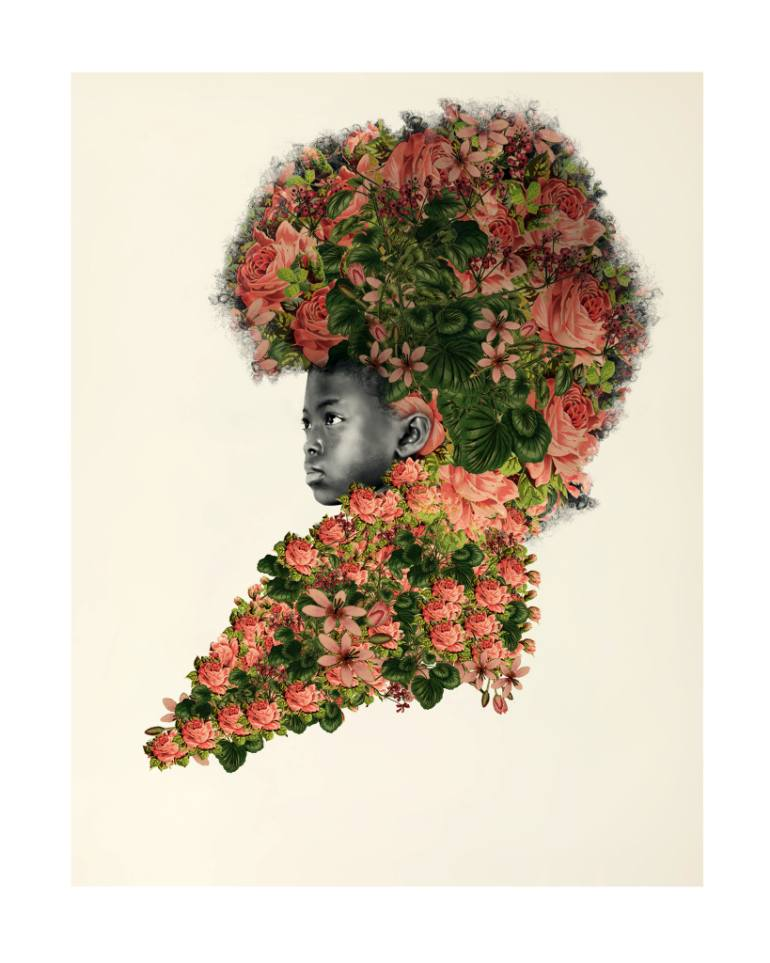 Natural haired girl with flowers by artist Tawny Chatmon