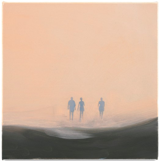 artwork of three figures silhouetted against a pink background by artist Isca Greenfield-Sanders